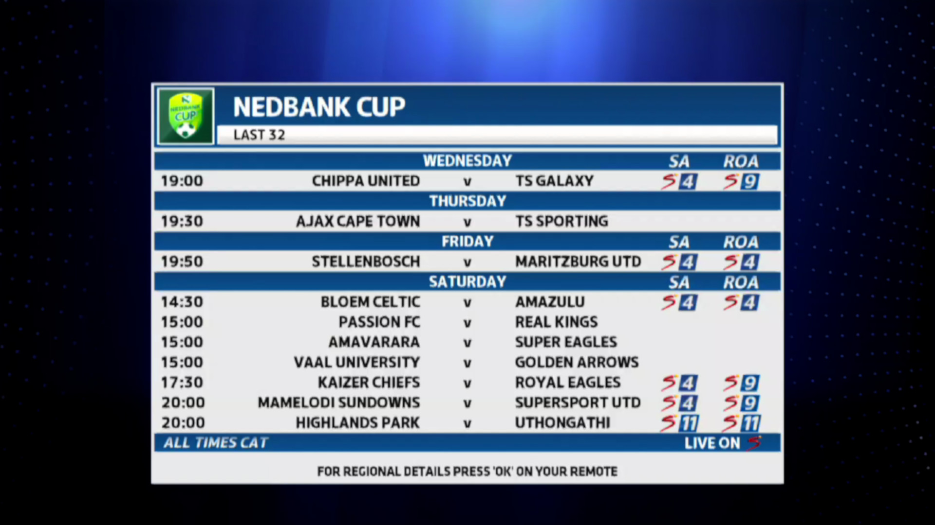 Nedbank Cup | Nedbank Cup TX times
