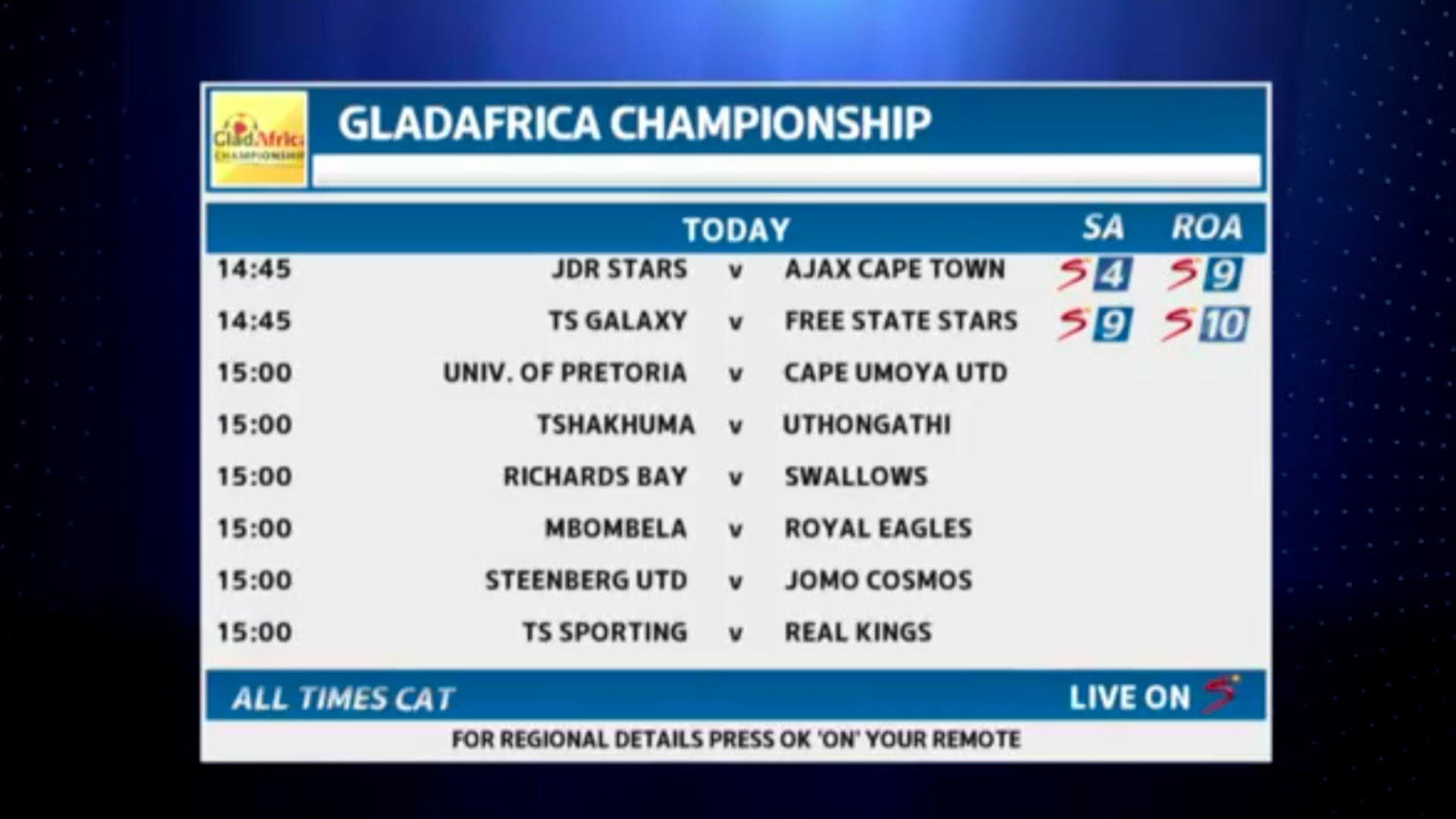Football | GladAfrica fixtures