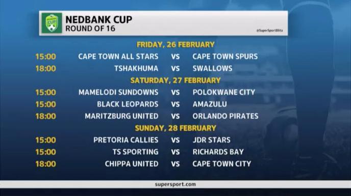 Nedbank Cup   Nedbank Cup Last 16 dates
