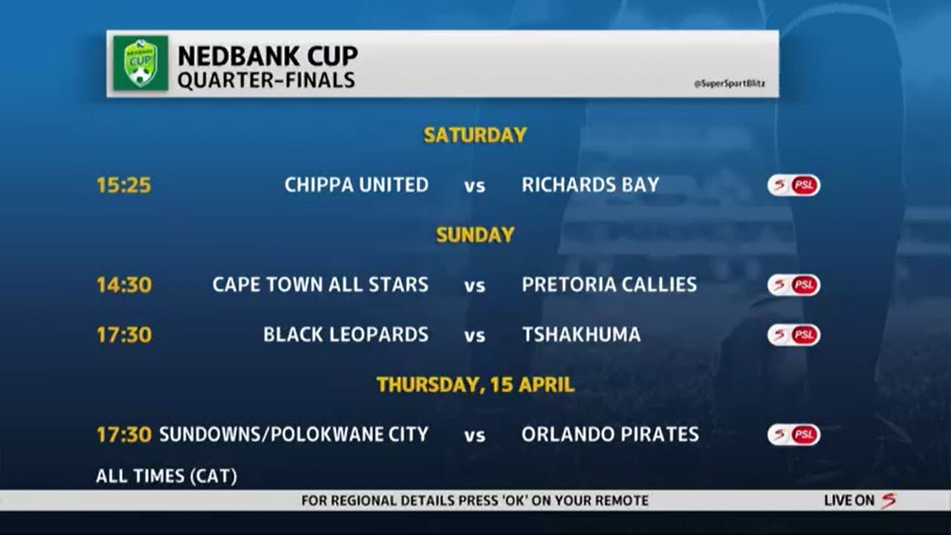Nedbank Cup | Quarterfinals fixtures and dates announced