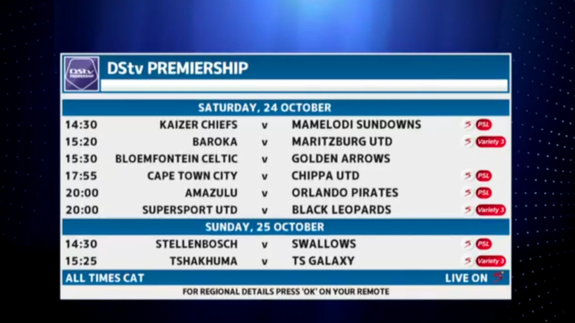 DStv Premiership | TX Date | Saturday 24th October